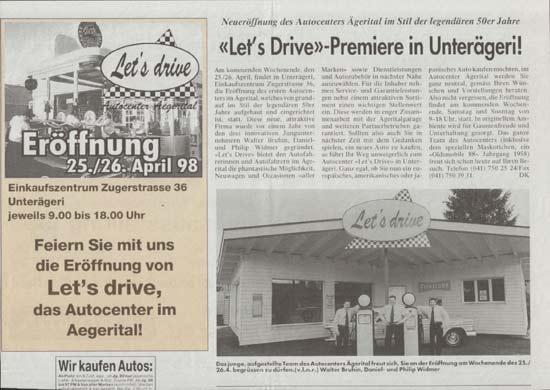 Artikel mit Eröffnungsinserat in der Zuger Woche über Let's drive AG