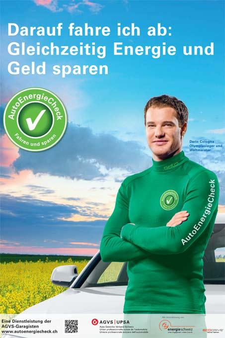 Auto Energie Check mit Logo und Dario Colgna